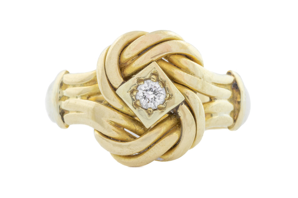 Antique 18ct Gold Diamond Knot Ring (0.11ct)