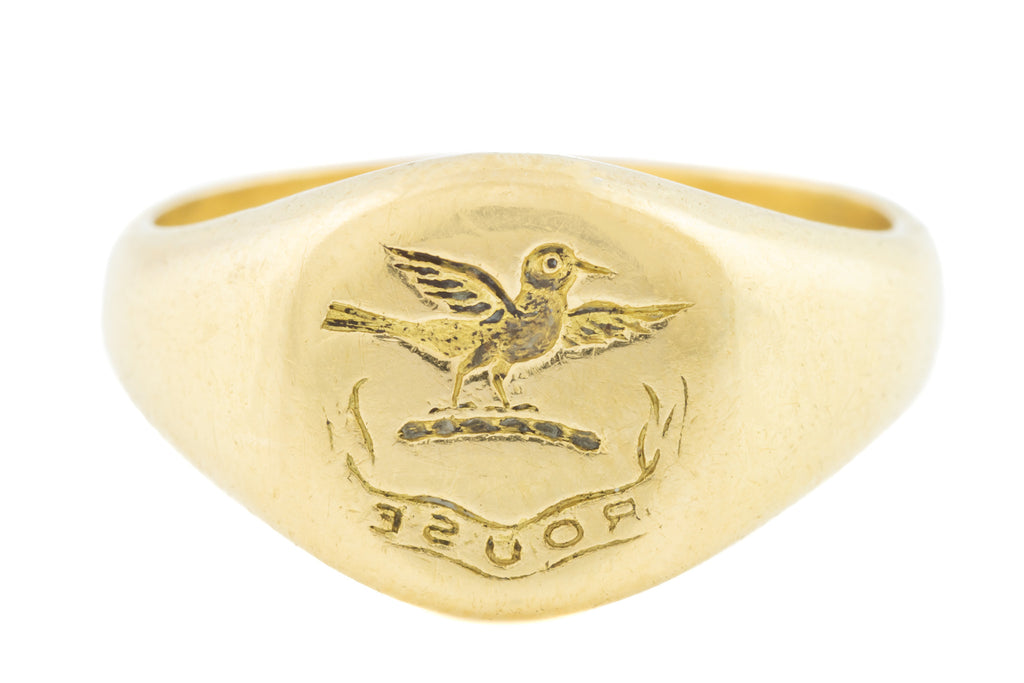 "Antique 18ct Gold Signet Ring, ""ROUSE"" Intaglio"