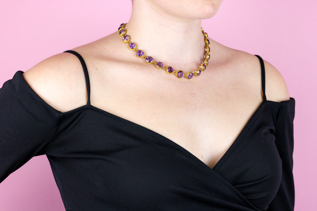 9ct Gold Victorian Amethyst Rivière Necklace (59.95ct)