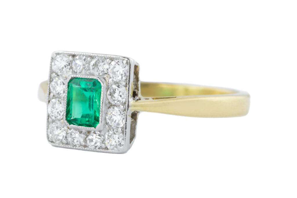 Art Deco Emerald and Diamond Cluster Ring (0.23ct)