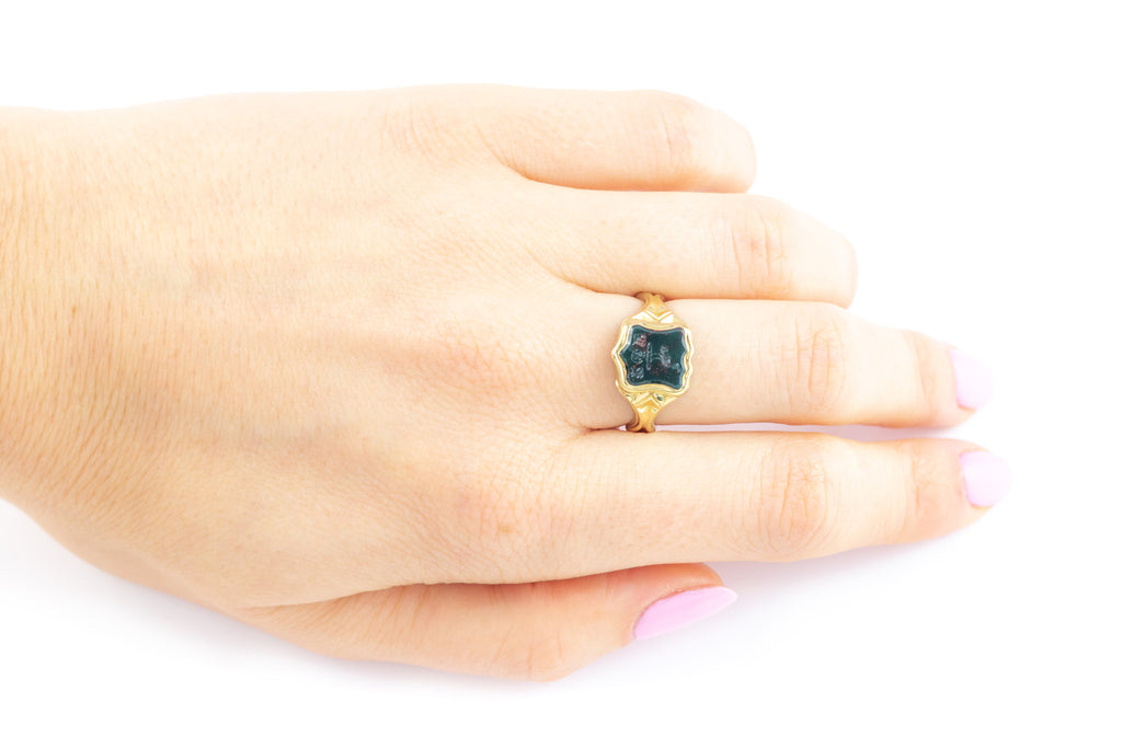 Antique 18ct Gold Poison Ring with Bloodstone Intaglio