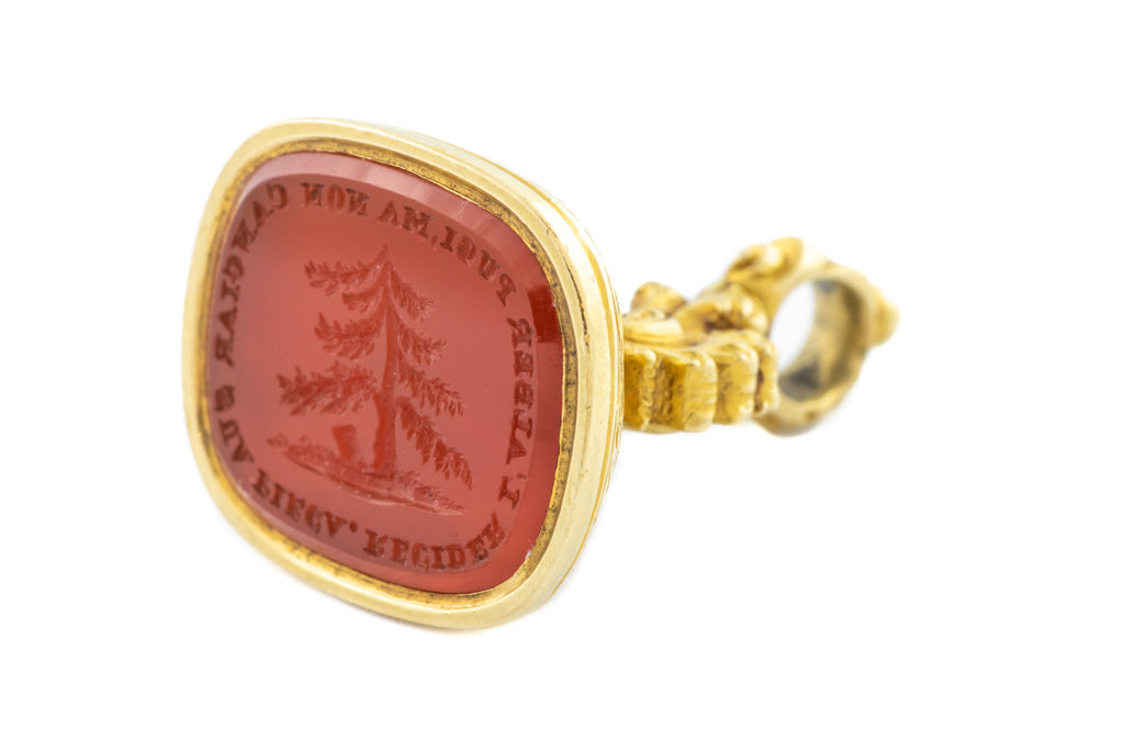 Antique 18ct Gold Wax Seal Pendant, with Carnelian Intaglio