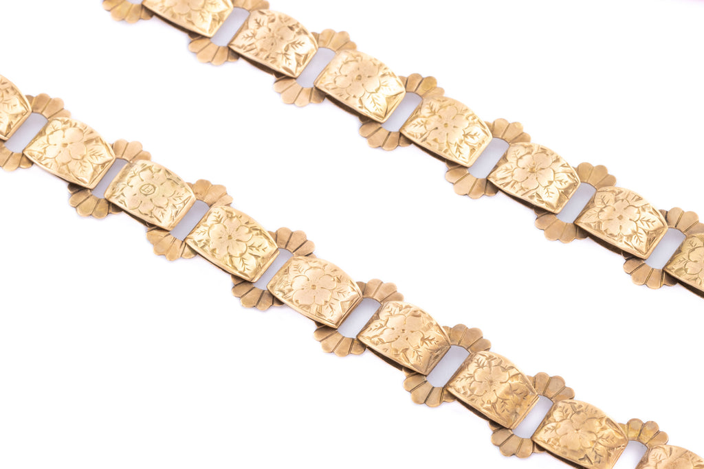 "Antique 9ct Gold Book Chain Necklace, 17.5"" (26g)"