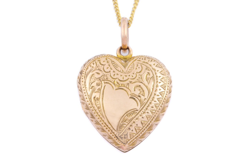 "Antique 9ct Gold Heart Locket, with 18"" Chain c. 1915"