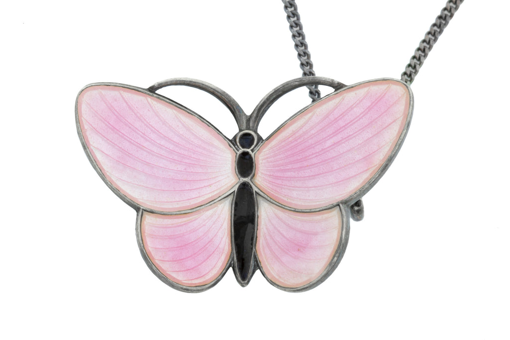 "Vintage Enamel Guilloche Butterfly Pendant, with 18"" Chain"