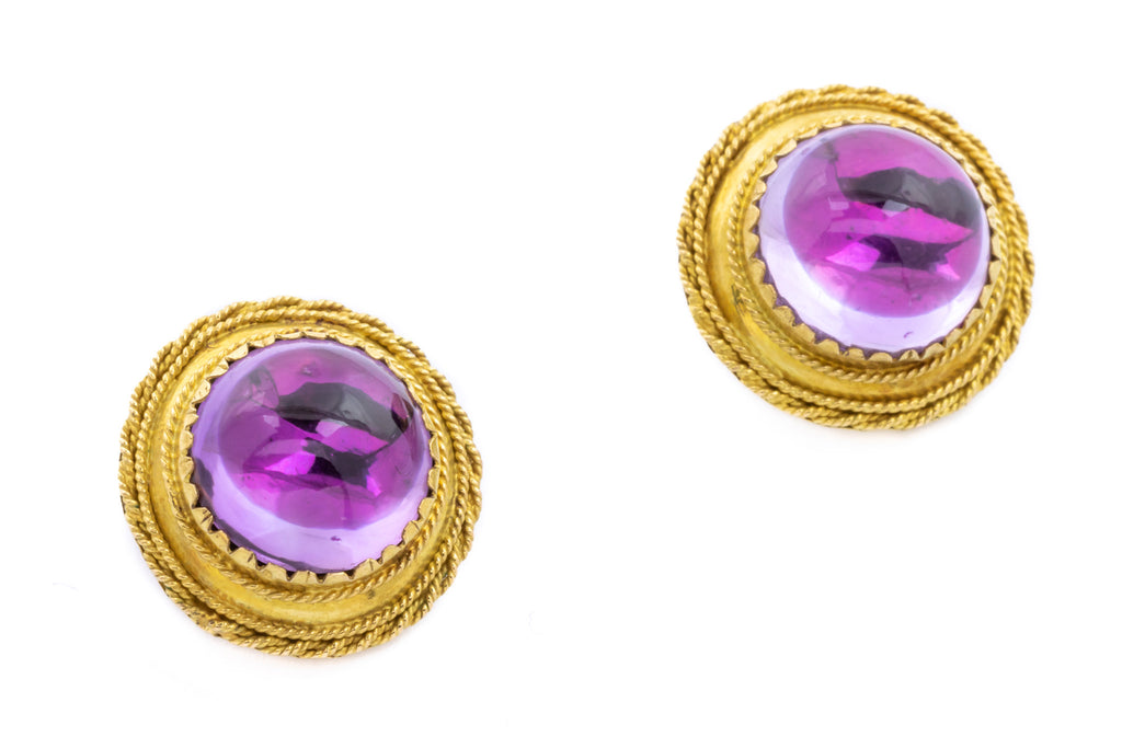 18ct Gold Antique Amethyst Clip On Earrings