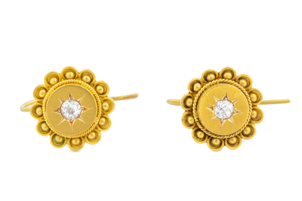 15ct Gold Victorian Etruscan Style Diamond Earrings (0.12ct)