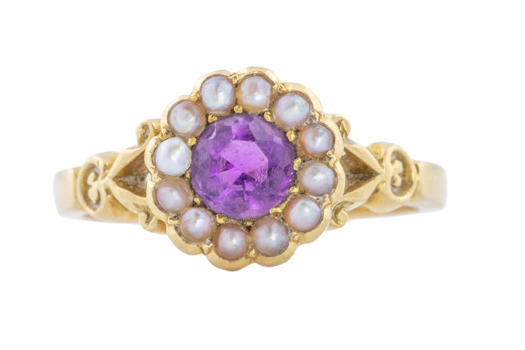 18ct Gold Antique Amethyst Pearl Cluster Ring