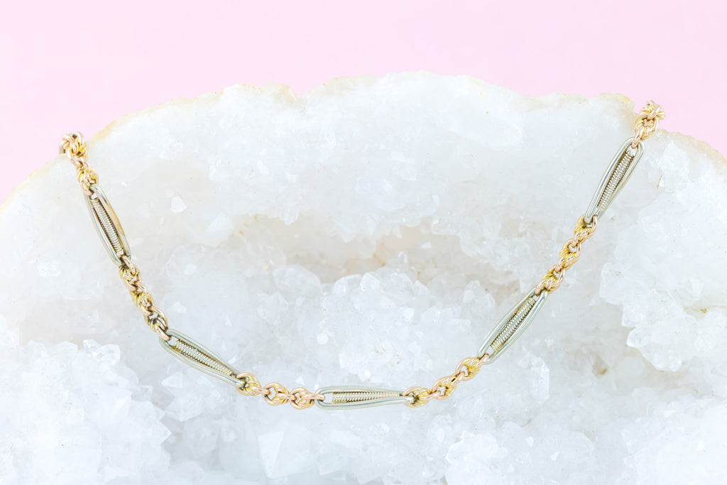 9ct Gold Antique Two Tone Link Choker Necklace (8.5g) 13.5""
