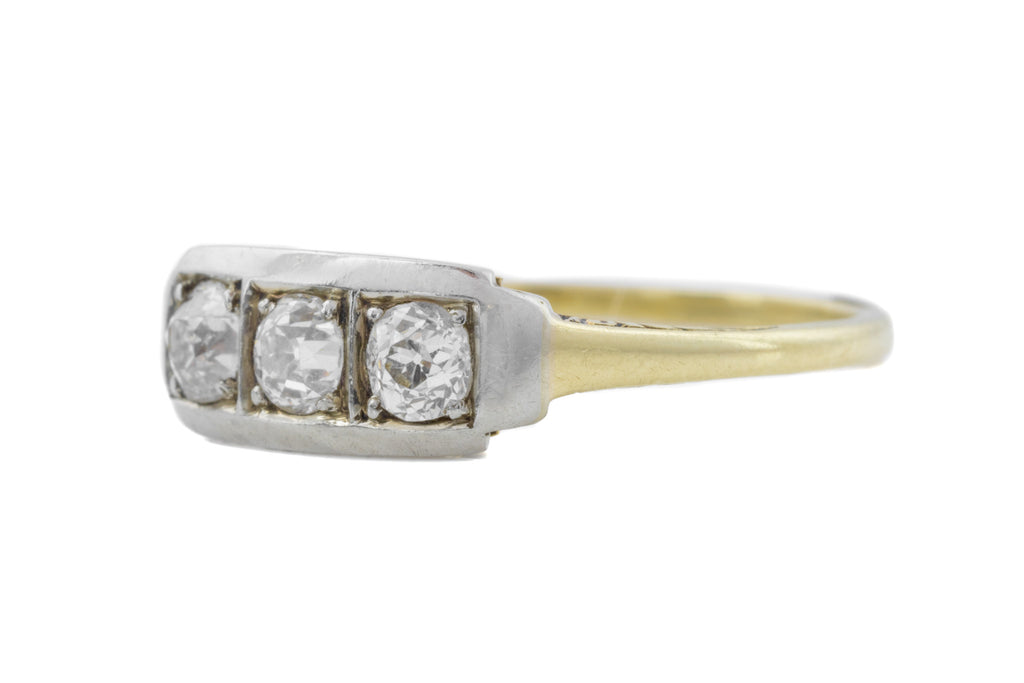 Art Deco 14ct Gold Diamond Trilogy Ring (0.33ct)