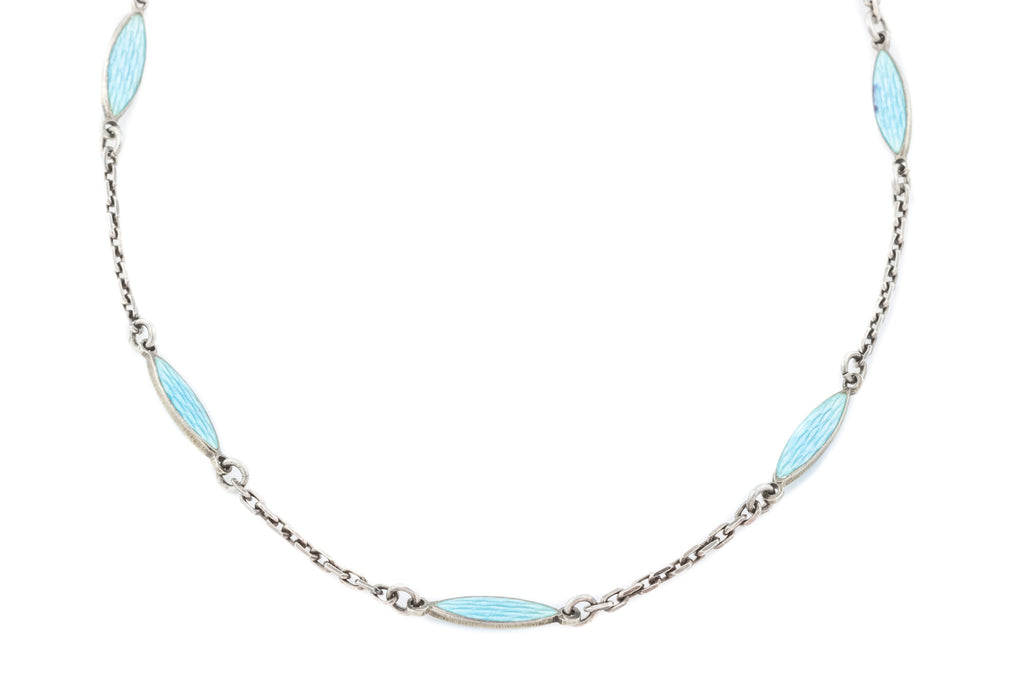 "Antique Scandinavian Silver Enamel Necklace, 26"" (10.6g)"