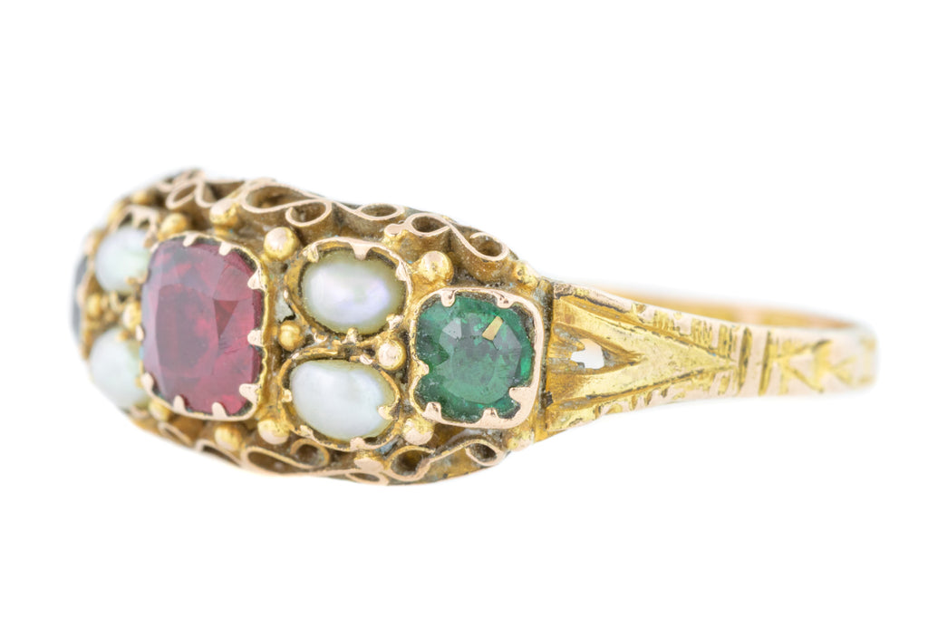 15ct Gold Victorian Paste and Pearl Ring c.1873