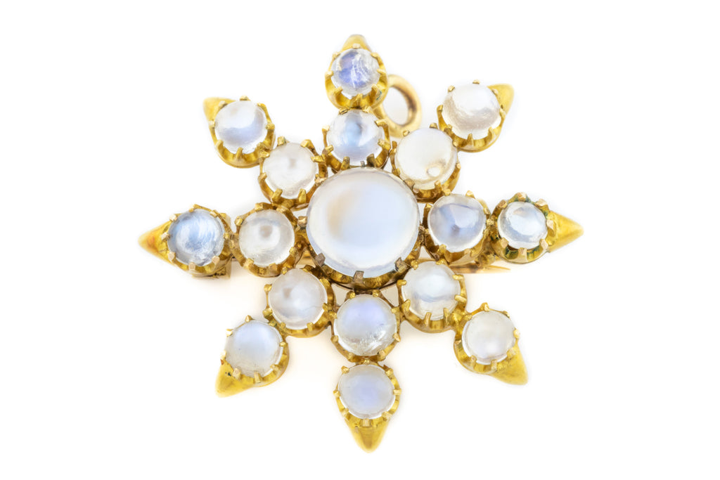 Antique 9ct Gold Moonstone Brooch Pendant (3ct)