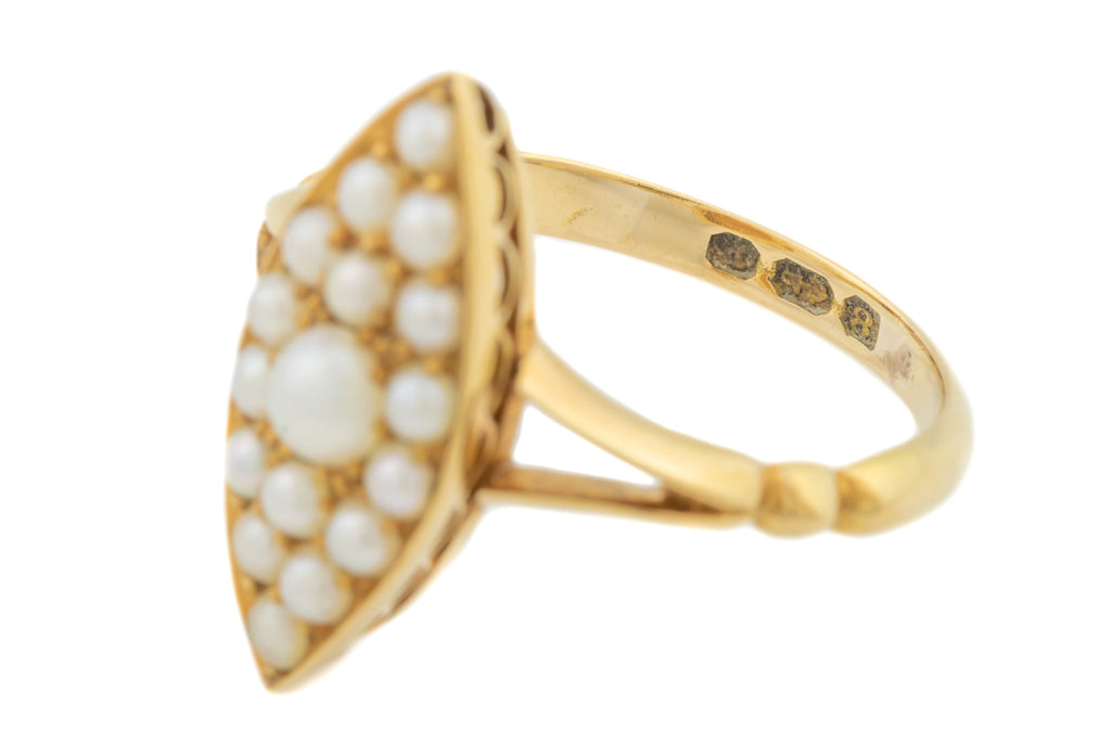 Antique 18ct Gold Pearl Navette Ring c.1898