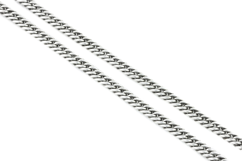 "Antique Silver Curb Chain Necklace c.1899, 63"" (85.9g)"