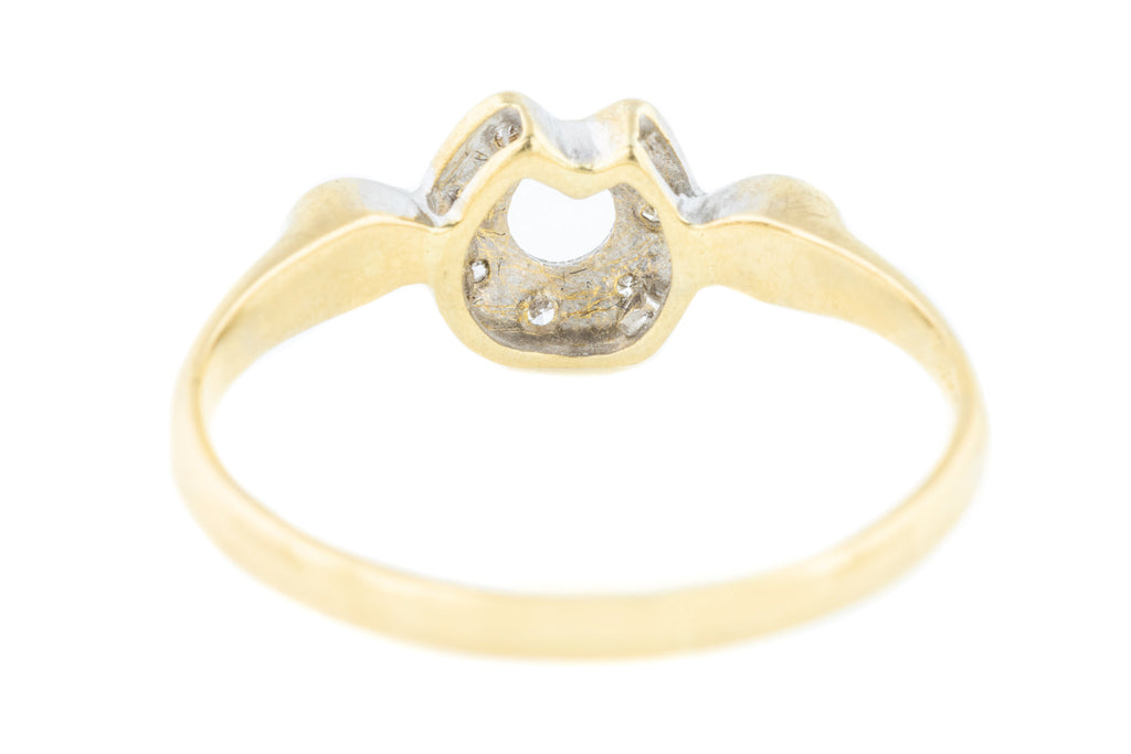Antique 18ct Gold Horseshoe Ring (0.10ct)