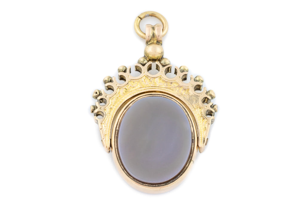 "Antique 10ct Gold Fob Pendant, with 16"" Chain"