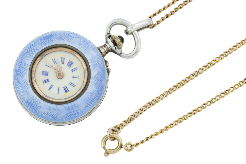 "Antique Guilloche Enamel Watch Pendant, with 16"" Chain"