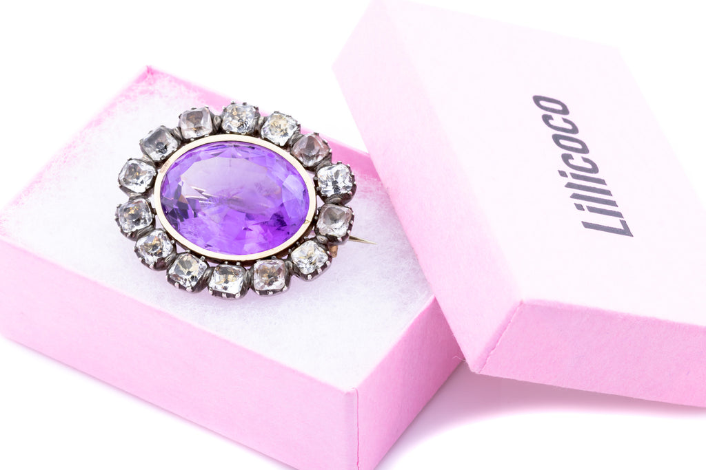 Georgian Amethyst and Paste Brooch (23.24ct)