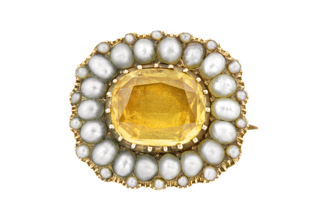 Georgian Citrine Paste and Pearl Brooch