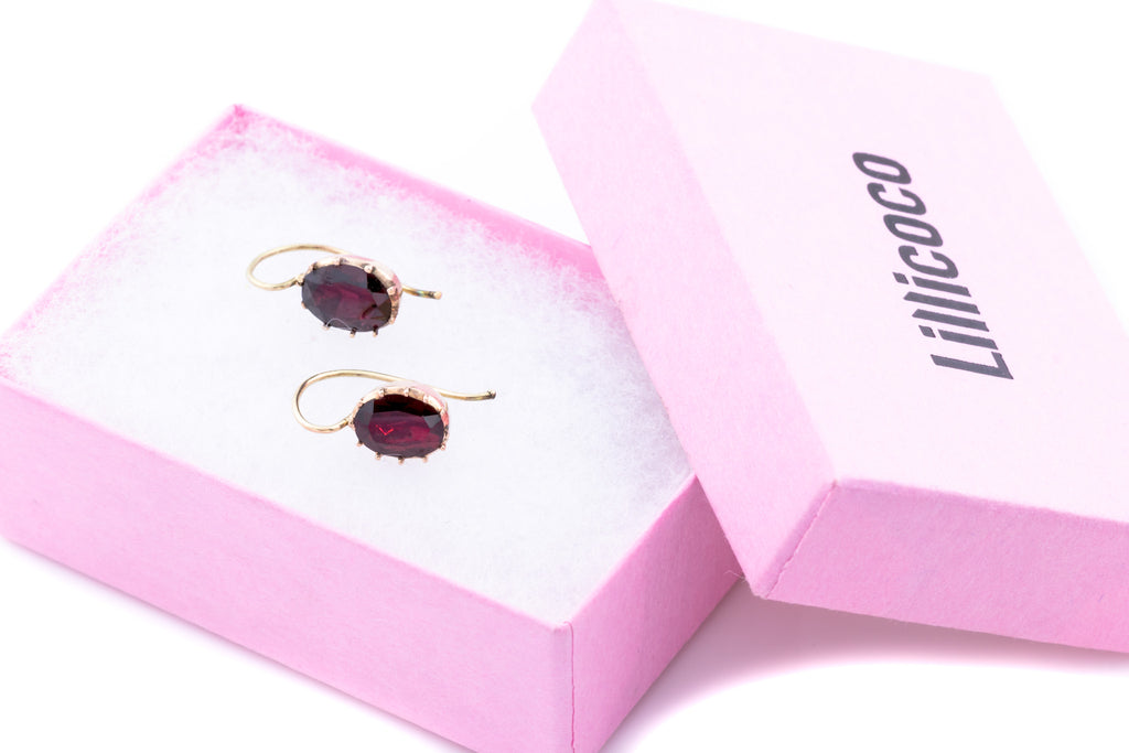 Georgian 10ct Gold Garnet Drop Earrings