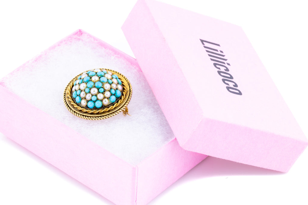 Gold Victorian Turquoise and Pearl Brooch Pendant