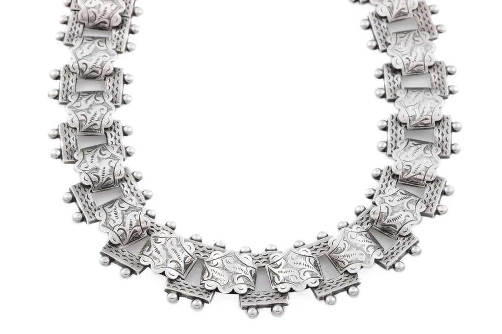 "Victorian Silver Book Chain Necklace, 18"" (42.5g)"