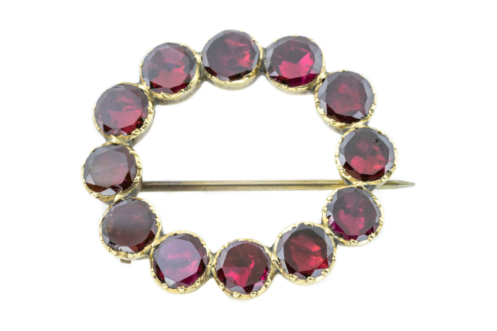 Georgian 12ct Gold Garnet Brooch c.1800 (0.29ct)