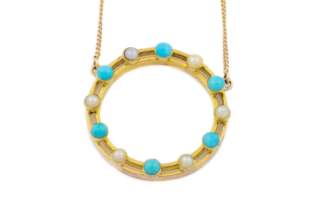 Antique 15ct Gold Pearl and Turquoise Necklace, 16""
