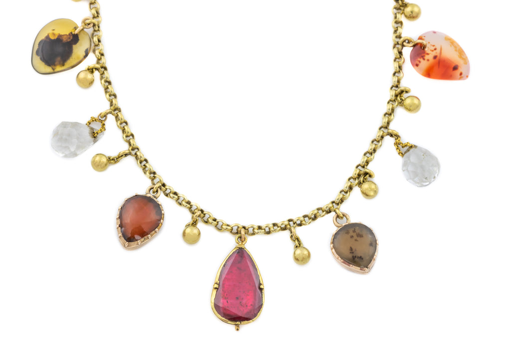 Antique Charm Necklace with Paste Earrings, 16""