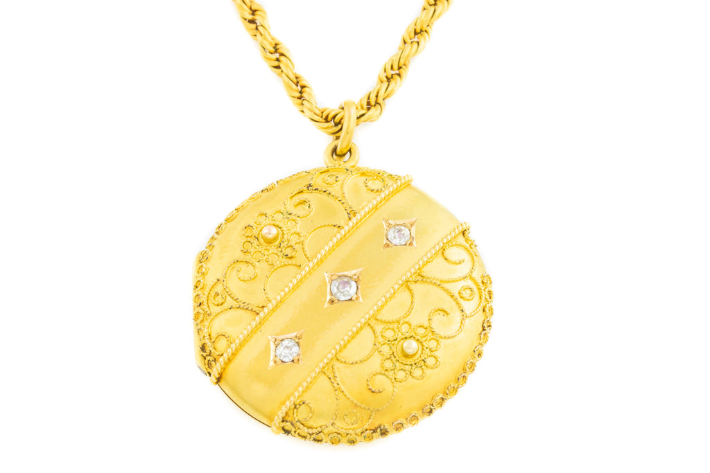 15ct Gold Antique Diamond Locket with Victorian Rope Chain (0.1ct)
