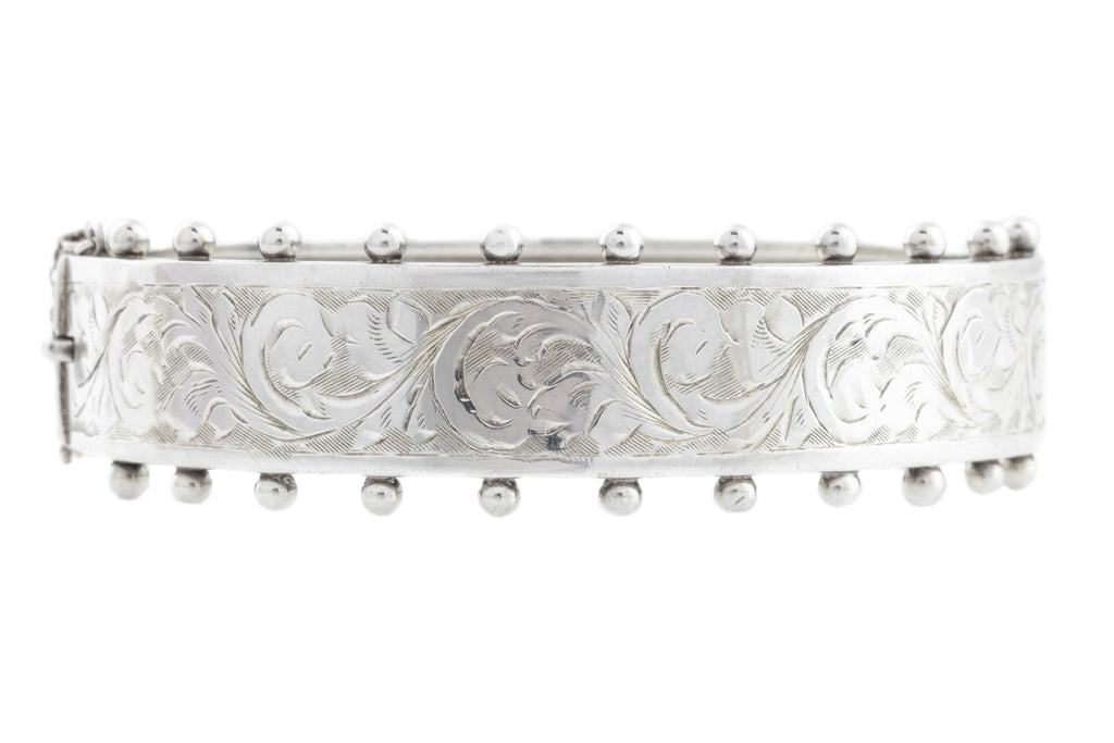 Vintage Victorian Style Silver Cuff Bangle c.1952
