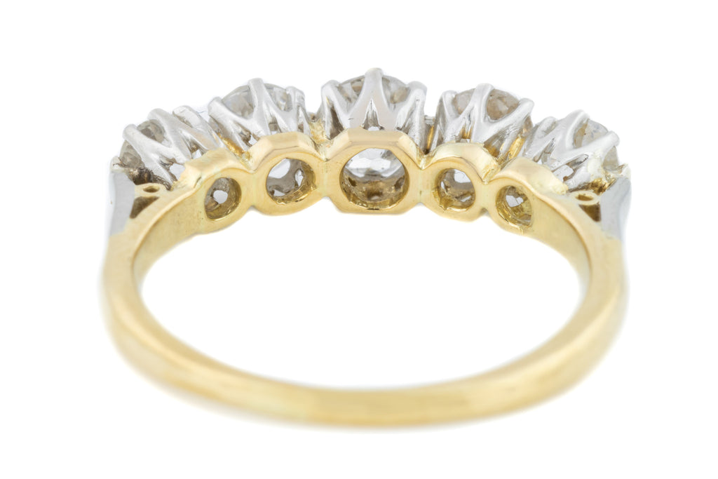 Antique Five Stone Diamond Ring - 1.10ct European cut Diamonds