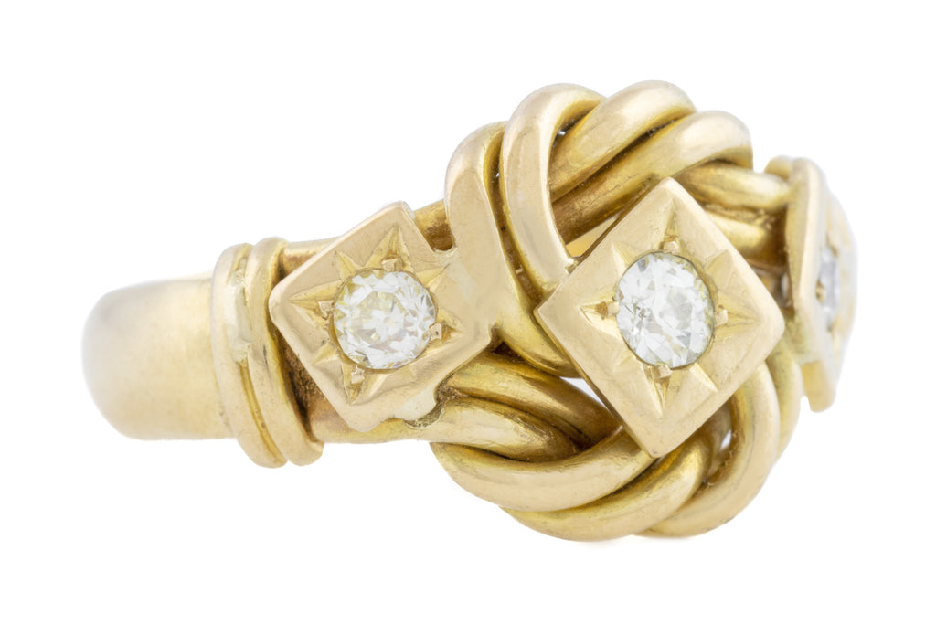 Antique 18ct Gold Diamond Knot Ring (0.27ct)
