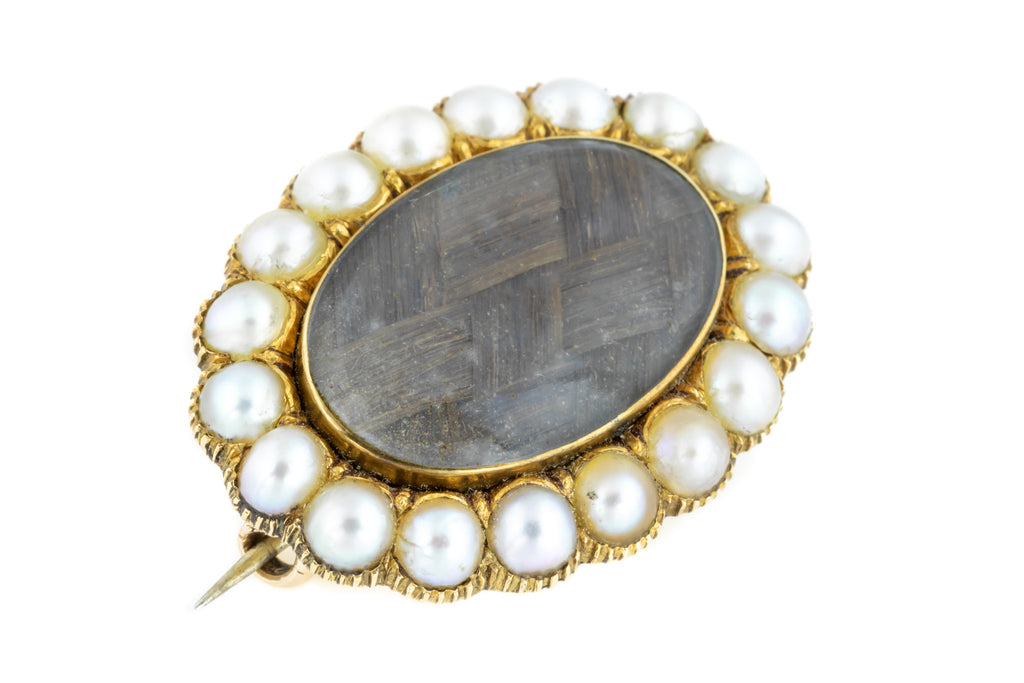 Georgian 15ct Gold Mourning Brooch