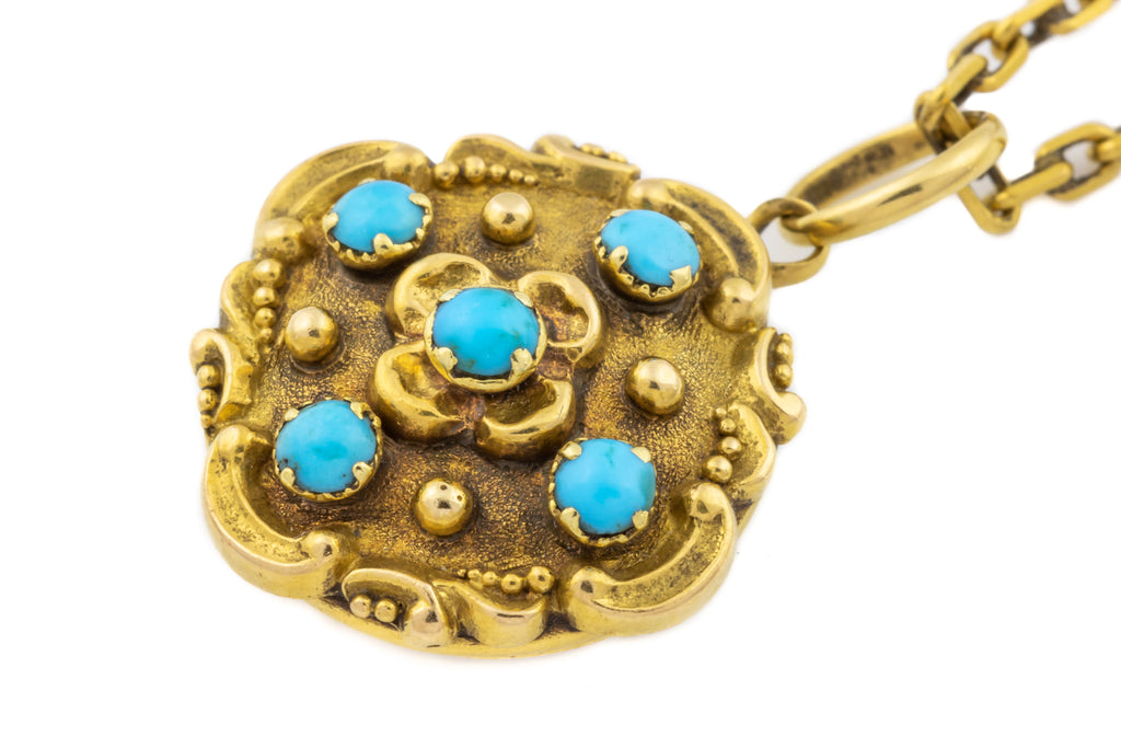18ct Gold Georgian Turquoise Mourning Pendant with Antique Chain c.1822