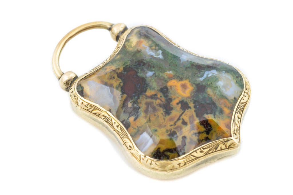 Moss Agate Victorian 9ct Gold Shield Pendant