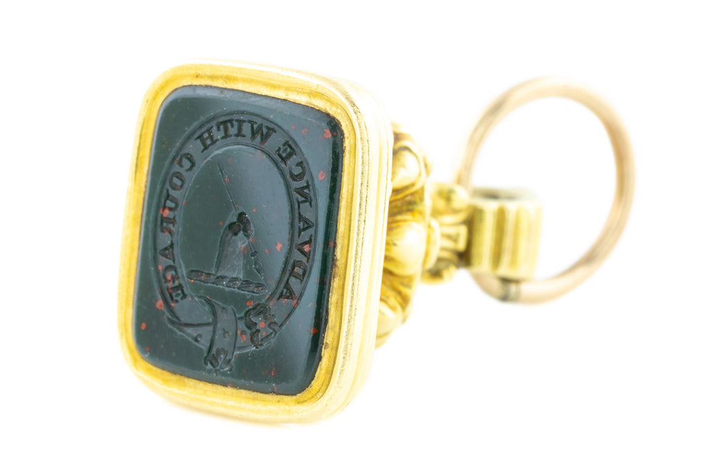 15ct Gold Antique Fob Pendant with Bloodstone Buckle Intaglio