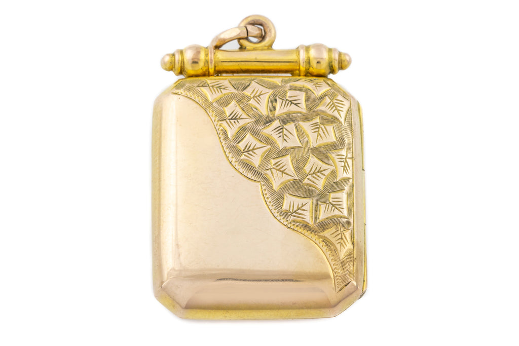 Victorian 9ct Gold Back and Front Rectangular Locket