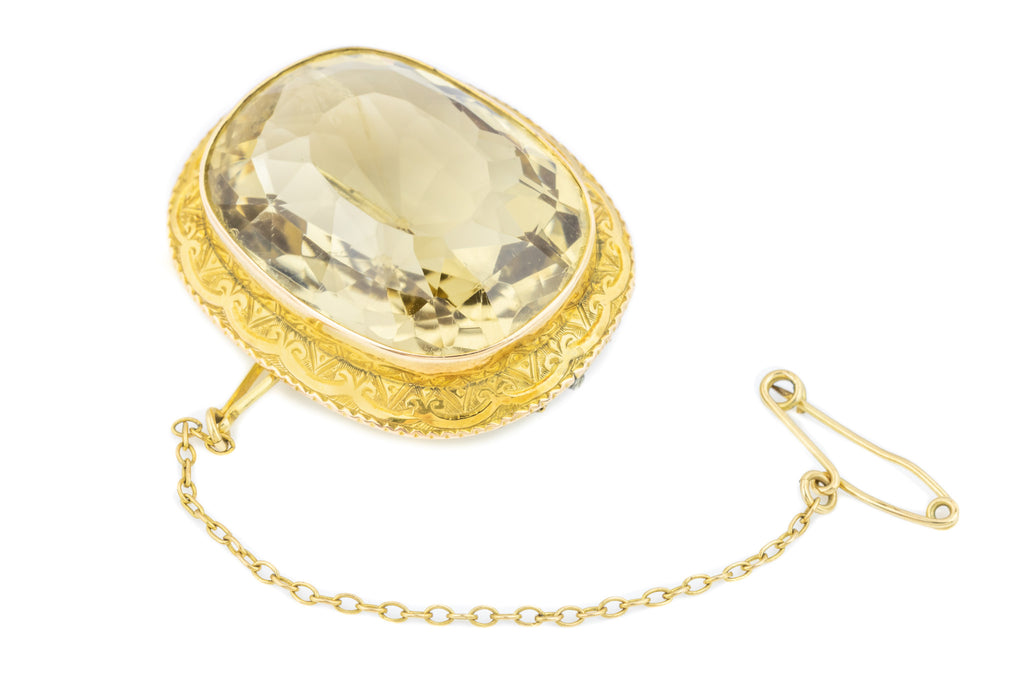 Victorian 15ct Gold Large Citrine Brooch (43.6ct)