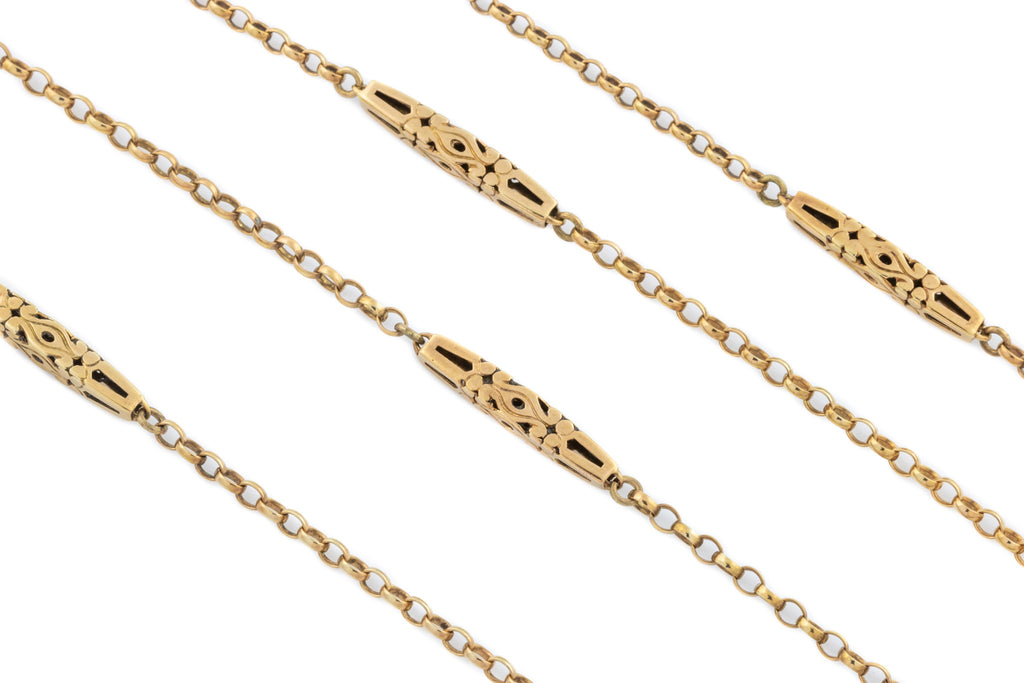 "Antique 12ct Rose Gold Belcher Chain, 63"" (19g)"
