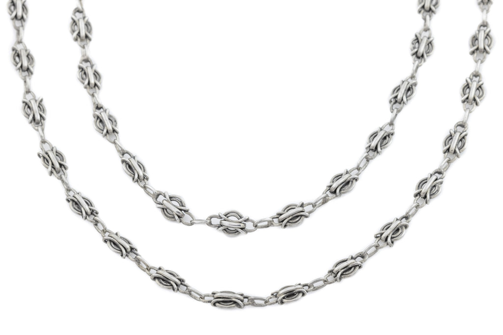 Antique French Silver Fancy Link Chain 56""