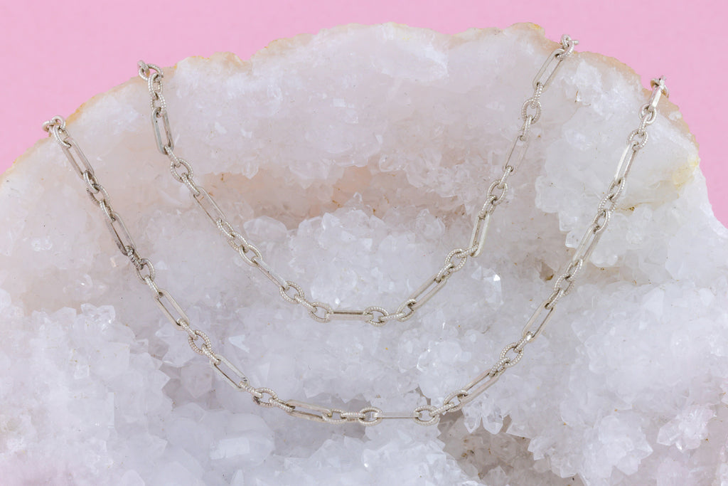 "French Silver Longuard Chain 61"" (21.3g)"