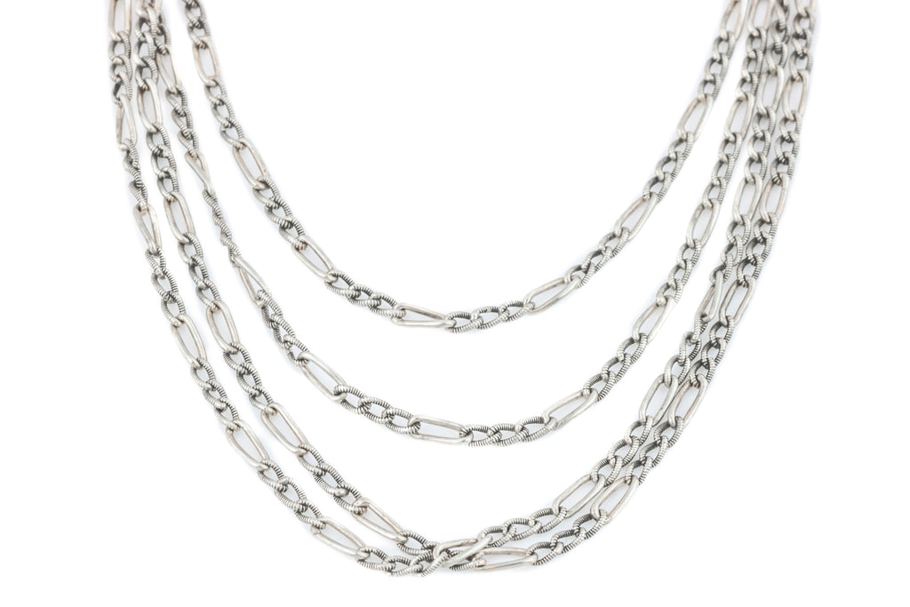 Long French Silver Guard Chain Necklace 56""