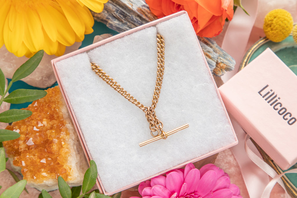 "9ct Rose Gold Albert Chain necklace with T-bar 14.5"" (32.4g)"