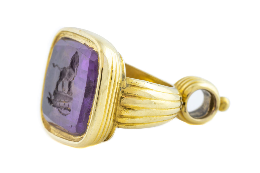 9ct Gold Cased Antique Amethyst Fob Pendant with Lion Intaglio