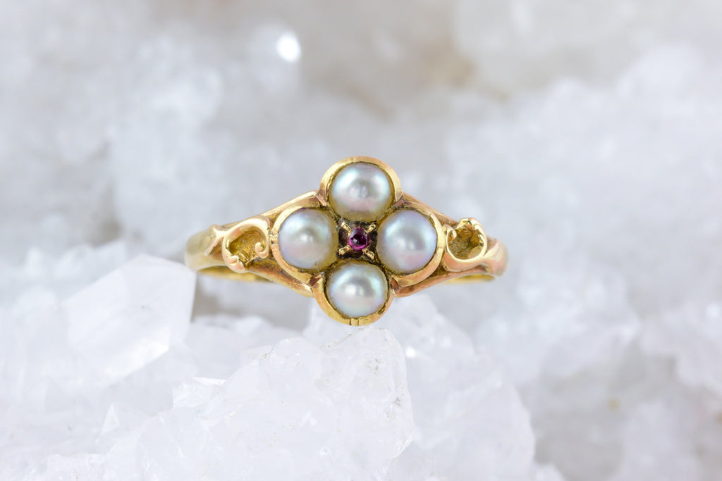 18ct Gold Victorian Pearl and Ruby Flower Ring
