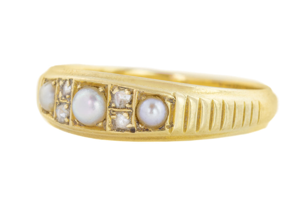 18ct Gold Victorian Pearl and Diamond Ring c.1893