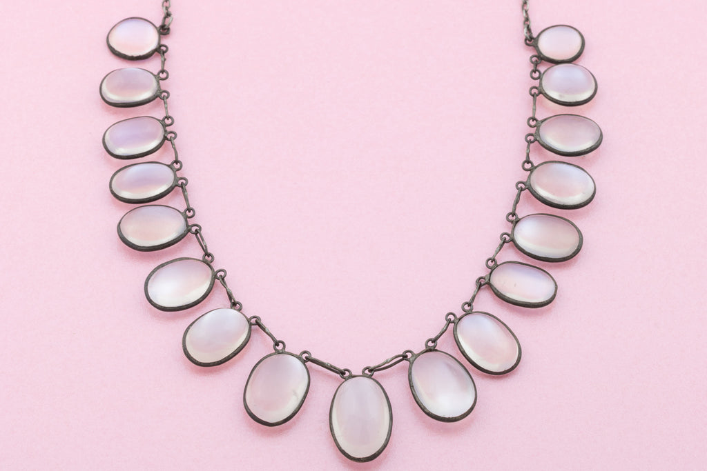 Fine antique Silver Moonstone Festoon Necklace 35.0ct