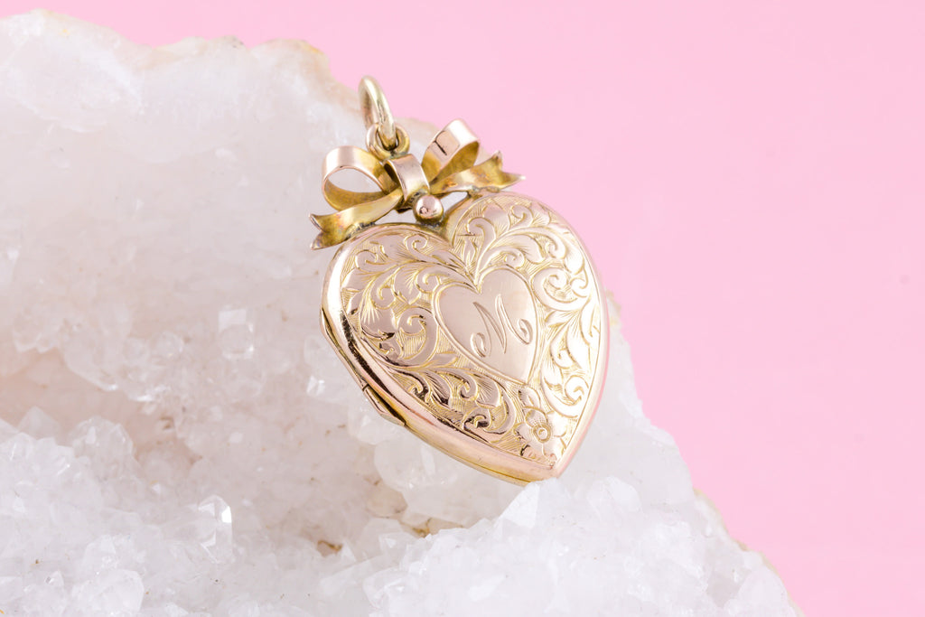 "RESERVED! -Antique 9ct Gold Heart Locket c.1907, with 18"" Chain"